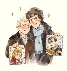 Sherlock bbc: Pictures by GorryBear. John with a pic of Bilbo & Sherlock with one of Khan.