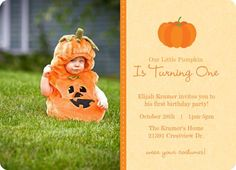 Custom Photo First Birthday Invitation By PurpleTrail Halloween