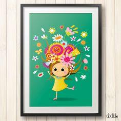 Spring in my head, kids poster, little girl room decor, nursery decor, children's illustration by Dodlido on Etsy