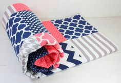 Baby Girl Blanket, Fleece Blanket, Crib Blanket, Nautical Nursery Decor, Baby Shower Gift, Coral Pink, Grey, Gray and Navy Blue Chevron