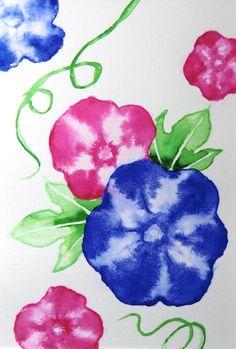 Blaue Prunkwinde, Aquarell, original, nicht gedruckt von ManamiTakamatsu auf Etsy