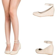 NUDE DUAL MARY JANE ANKLE STRAP HIDDEN LOW WEDGE HEEL BALLET FLAT BALLERINA PUMP #Styluxe #BalletFlats