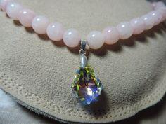 Pink Jade Briolette Sworavski Crystal by TheBarefootBombshell, $45.00