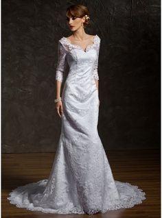 Trumpet/Mermaid V-neck Chapel Train Satin Lace Wedding Dress