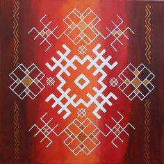 Traditional Latvian folk symbols on red colours. Acrylic on canvas, 40x40cm.