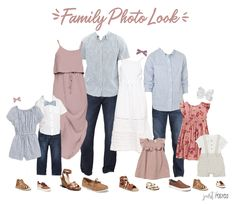 family photo outfits Are you looking for what to wear for family pictures? This light pink, chambray, navy and floral look is perfect! This would also be a great option for beach f Disney Family Outfits, Fall Family Photo Outfits, Family Picture Colors, Family Portrait Outfits, Family Posing, Family Portraits, Beach Portraits, Summer Photo Outfits, Spring Family Pictures
