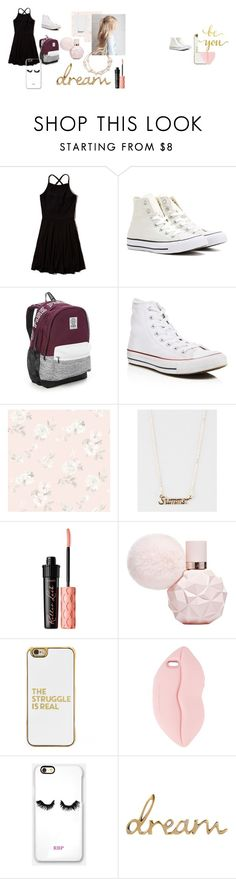 """School 1"" by babygirl-kenzie on Polyvore featuring Hollister Co., Converse, Victoria's Secret, Captiva, Full Tilt, Benefit, BaubleBar, STELLA McCARTNEY, Rianna Phillips and WALL"