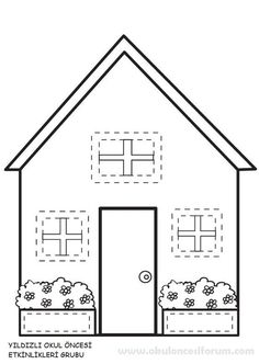 Simple house pattern for felt car mat (maybe add a chimney to make different house) House Colouring Pages, Cute Coloring Pages, Coloring Pages For Kids, The Napping House, Felt Doll House, Quiet Book Templates, House Template, English Paper Piecing, Felt Crafts