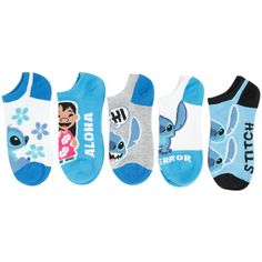 Disney Lilo Stitch Blue No-Show Socks 5 Pair Hot Topic ($15) ❤ liked on Polyvore featuring intimates, hosiery, socks, blue socks, disney socks and disney