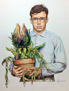 RICK MORANIS & AUDREY II Little Shop of Horrors Illustration Adam Howard 2017 Medium is Color Pencil and acrylic paint on acid free Strathmore Drawing paper. Arte Horror, Horror Art, Horror Drawing, Little Shop Of Horrors, House Of Beauty, Horror House, Horror Films, Art Inspo, Sketches