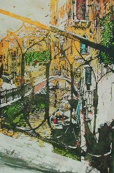 "sunlit ponte rio greci venice 19.5"" x 13"" micheal zarowsky / watercolour on arches paper / available $700.00"
