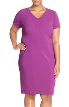Free shipping and returns on Sejour Short Sleeve Ottoman Rib Sheath Dress (Plus Size) at Nordstrom.com. Expert seaming sculpts the shapely cut of a short-sleeve sheath richly textured with fine ottoman ribbing that shifts direction to flattering effect. At this price, you'll want one in every color.