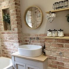 Here's What I Know About Faux Brick Wall Bathroom decoryourhomes com is part of Oak shelves - Brick Bathroom, Bathroom Interior, Small Bathroom, Oak Bathroom, Faux Brick Walls, Brick Tile Wall, Oak Shelves, Bathroom Cleaning, Beautiful Bathrooms