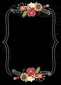 Black and pink and gold Cute Wallpapers, Wallpaper Backgrounds, Iphone Wallpaper, Borders And Frames, Floral Border, Border Design, Chalkboard Art, Wedding Cards, Diy And Crafts