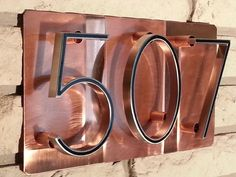 House Number Address Sign Raised numbers on pure polished copper Custom Home Address plaque