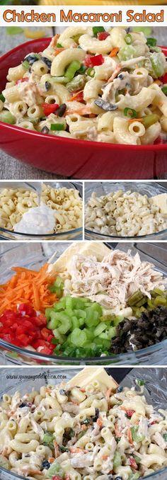 Add this to your cold salad recipes board! - Ensalada de macarrones y pollo New Recipes, Cooking Recipes, Favorite Recipes, Healthy Recipes, Kraft Recipes, I Love Food, Good Food, Yummy Food, Snacks