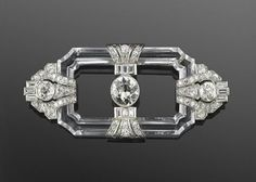 Art Deco Rock Crystal and Diamond Brooch. Fred Leighton collection