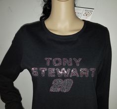 Chase Authentics for Women Tony Stewart 20 Trackside Nascar Black Bling Shirt S #ChaseAuthenticsforWomen #EmbellishedTee