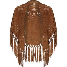 Brown suede laser cut fringed cape $180.00