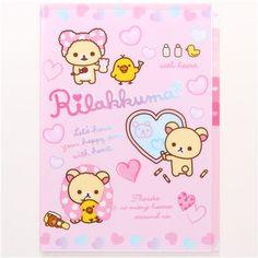 Rilakkuma bear bathroom A4 plastic file folder 5-pocket 1