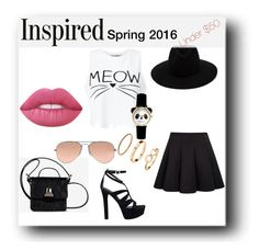 """""""MEOW"""" by adna-00 ❤ liked on Polyvore featuring Lime Crime, Miss Selfridge, GUESS, rag & bone, MM6 Maison Margiela and Ray-Ban"""