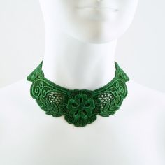Green Lace Choker Necklace  Fabric Jewelry for Summer by Arthlin, $20.00