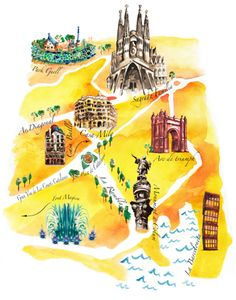 Barcelona Map Illustration By Leona Beth