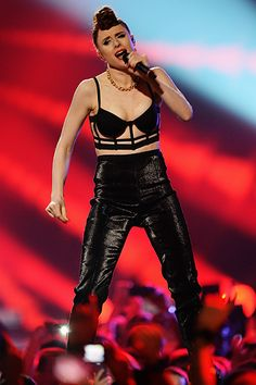 "Kiesza performs ""Hideaway"" on stage during the MTV EMA's 2014 at The Hydro on November 9, 2014 in Glasgow, Scotland."