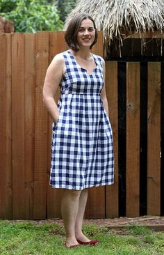 Gingham Washi in 2020 Simple Dresses, Nice Dresses, Casual Dresses, Short Dresses, Fashion Dresses, Washi Dress, Gingham Dress, Blue Gingham, Casual Frocks