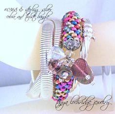 "Tanya Lochridge Jewelry Rhodonite & Vintage Heart Bangle Bracelet stacked here on ""strange wrist"" with sterling wrap cobra and enamel bangle. #josephesposito"