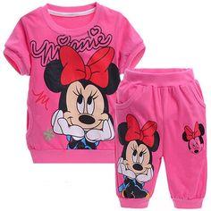 7ac3b701b2 Sport Center  Big SALE Baby Girls Summer Children Kids Clothes Cartoon  Minnie Mickey Short Sleeve T Shirt Shorts Pants Sport Clothing Sets  Tracksuit