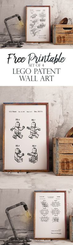 Lego Patents Wall Art – Set of 4. Free Printable to easily frame and hang in a Nursery or Playroom. From The Okie Home.