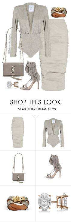 """""""Untitled #1564"""" by dnicoleg ❤ liked on Polyvore featuring Rick Owens, Yves Saint Laurent, Schutz and Allurez"""