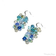 de7fe9957005d Summer Beach Swarovski Crystal Cluster argent boucles d oreilles sirène  bijoux Aqua bleu sarcelle vert