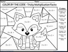 Multiplication Color By Number Math Worksheets
