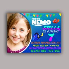 Finding Dory Birthday Party Card Digital Invitation With Photo