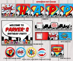 Superheroes Pop Art Superhero Birthday Party by ThePartyTown, $25.00