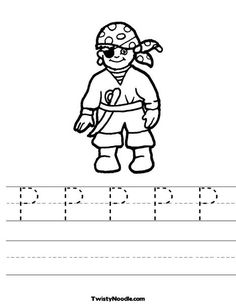 P is for pirate Worksheet - Twisty Noodle Pirate Preschool, Pirate Activities, Childcare Activities, Pirate Crafts, Preschool Letters, Preschool Lessons, Language Activities, Kindergarten Activities, Alphabet Letters