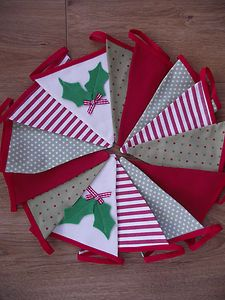 Handmade Christmas bunting in reds and green with holly applique - Breifne Cottage Designs - ebay