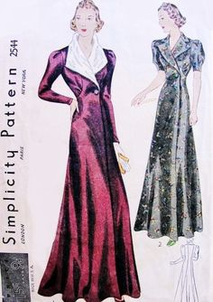 1930s GORGEOUS Full Length Evening Coat or Lounging Robe Simplicity 2544 Art Deco Design Myrna Loy Style Bust 32 Vintage Sewing Pattern