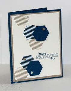 handmade Fahter's Day card by Jill Hilliard at Jill's Card Creations ... stamped and punched hexagon groupings ... navy, kraft and white ... Stampin' Up!