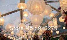 """24 pièces 12"""" blanche lanternes en papier avec whte led pour décoration de fête de mariage"""