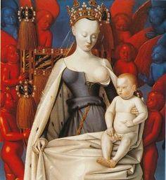 Vierge et l'Enfant entourés d'anges - Jean Fouquet. 1450, 120x224 cm