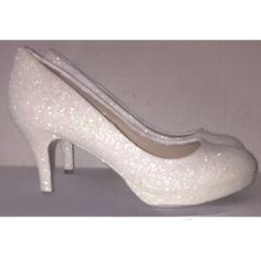 Women s Sparkly White or Ivory glitter Kitten Heels wedding bride shoes eaad9c324