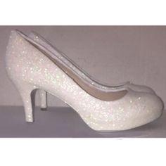 Women s Sparkly White or Ivory glitter Kitten Heels wedding bride shoes 310abe3c3