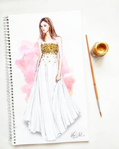 Let's add some Glitter 🎆 White pleated tulle gown with gold embroidery, pre-fall collection by Fashion Design Books, Fashion Design Sketchbook, Fashion Design Drawings, Fashion Art, Fashion Collage, Art Sketchbook, Fashion Sketches, Dress Design Drawing, Dress Design Sketches