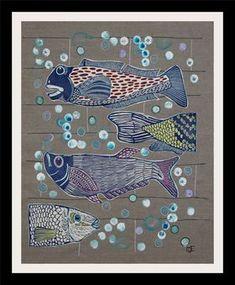 "Deep Blue, (25"" x 21"") mixed media collage by Mariann Johansen-Ellis"