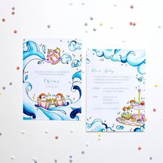Paperlust -- cute illustrated baby shower invitation for twins.