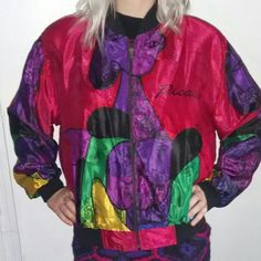 """Vintage Pablo Picasso Satin Bomber Jacket Reversible! One of a kind jacket.  No marked size. Fits a ladies M / L.  Zips up. Built in shoulder pads.  Measurements  Shoulder to shoulder : 21"""" Armpit to armpit : 25"""" Total length : 26 """"  Sleeve length : 24 """" Jackets & Coats"""