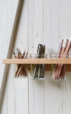 Mason jar wall organizer #DIY #idea